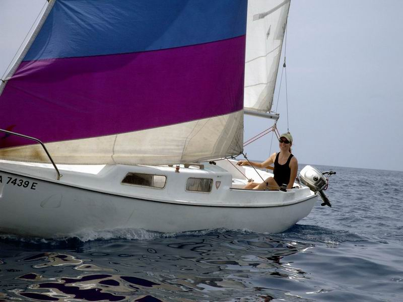 Aloha Sailing boat with skipper Nancy at the helm